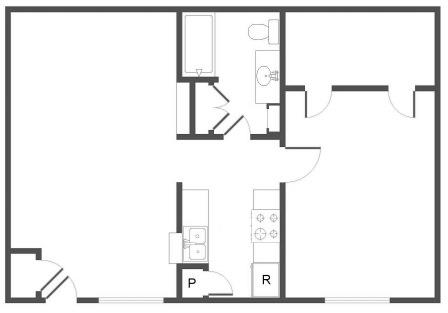 747 sq. ft. B floor plan