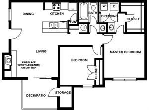 892 sq. ft. Renaissance floor plan