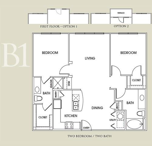 1,125 sq. ft. B1 floor plan
