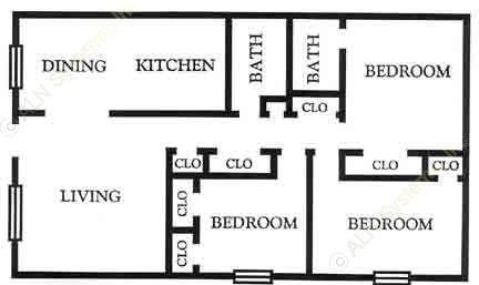 1,118 sq. ft. C1 floor plan