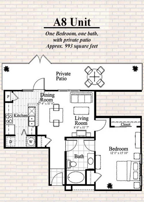 993 sq. ft. A8 floor plan