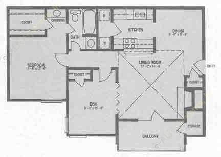 858 sq. ft. A3 floor plan