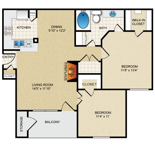 905 sq. ft. ROSEMONT floor plan