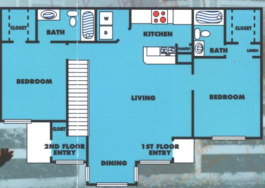 968 sq. ft. 2B/60% floor plan