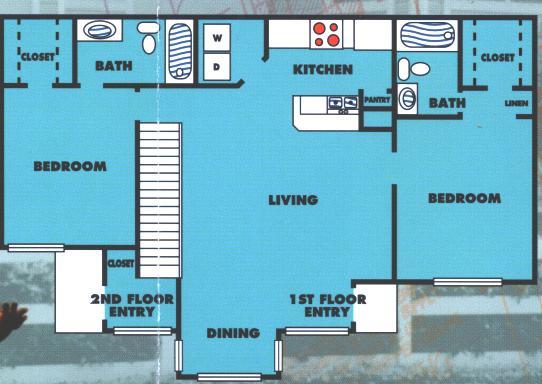 968 sq. ft. 2B/60% floor plan