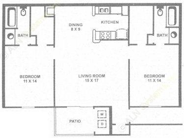 1,024 sq. ft. F floor plan
