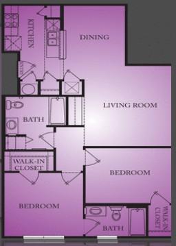 1,000 sq. ft. Caldwell floor plan