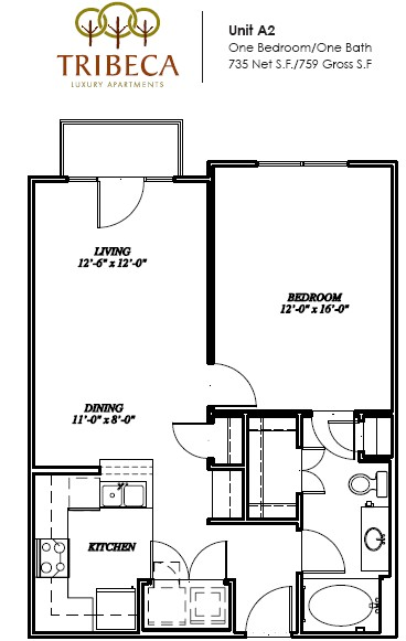 735 sq. ft. Greenwich floor plan