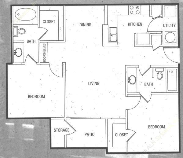 920 sq. ft. B2 floor plan