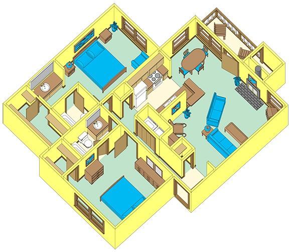 1,039 sq. ft. F floor plan