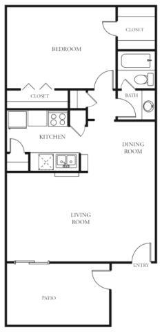 684 sq. ft. B floor plan