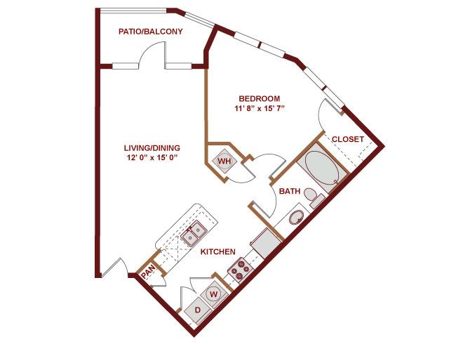 703 sq. ft. A300 floor plan