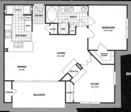 909 sq. ft. B2 floor plan