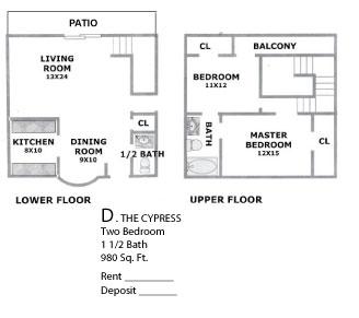 980 sq. ft. CYPRESS floor plan