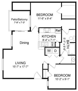 908 sq. ft. B1 floor plan
