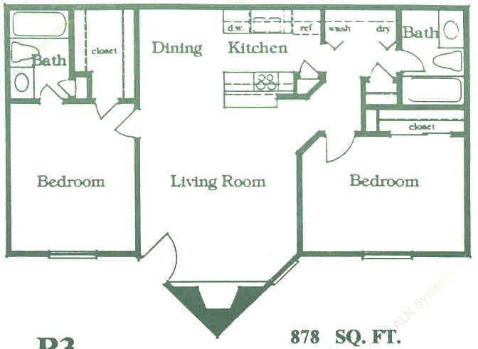 878 sq. ft. B3 floor plan
