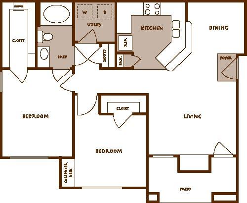 925 sq. ft. BELLA floor plan