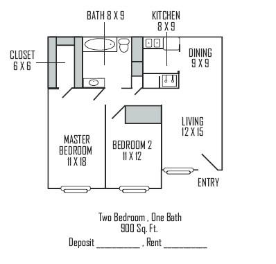 900 sq. ft. B floor plan