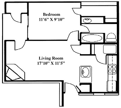 562 sq. ft. A2 floor plan