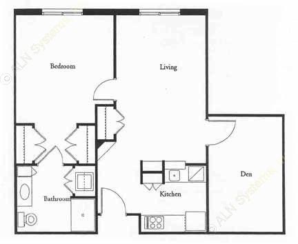840 sq. ft. MACARTHR floor plan