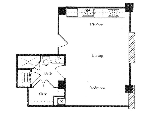 519 sq. ft. A floor plan