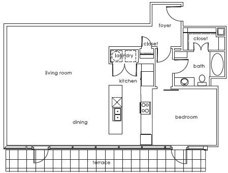 1,035 sq. ft. ELM F floor plan