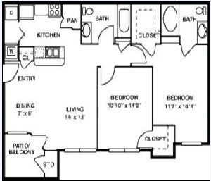 995 sq. ft. B1/60% floor plan