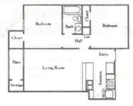 650 sq. ft. B1/60% floor plan