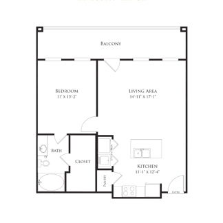712 sq. ft. 2A2 floor plan