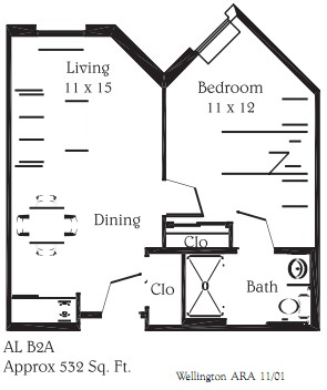 532 sq. ft. B2A floor plan