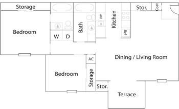 824 sq. ft. B-2 floor plan