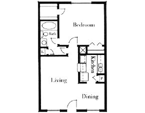 650 sq. ft. 1x1/60 floor plan