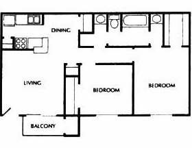 810 sq. ft. D floor plan