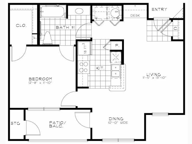 750 sq. ft. Hawthorne floor plan