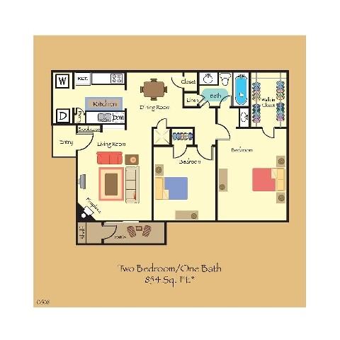 854 sq. ft. B3 floor plan