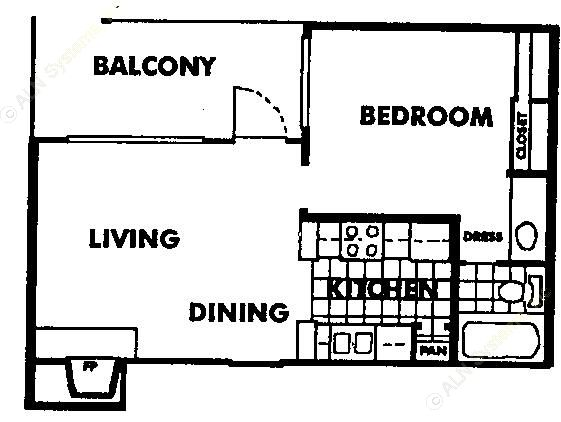 479 sq. ft. A1 floor plan