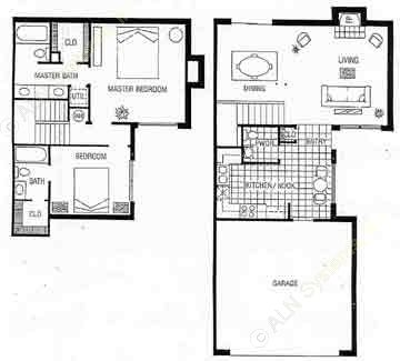 1,274 sq. ft. B floor plan