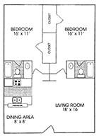 1,100 sq. ft. floor plan