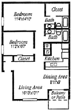 967 sq. ft. C floor plan