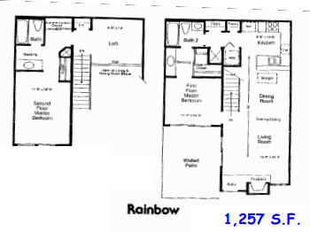 1,257 sq. ft. D floor plan