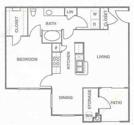 835 sq. ft. A3 floor plan