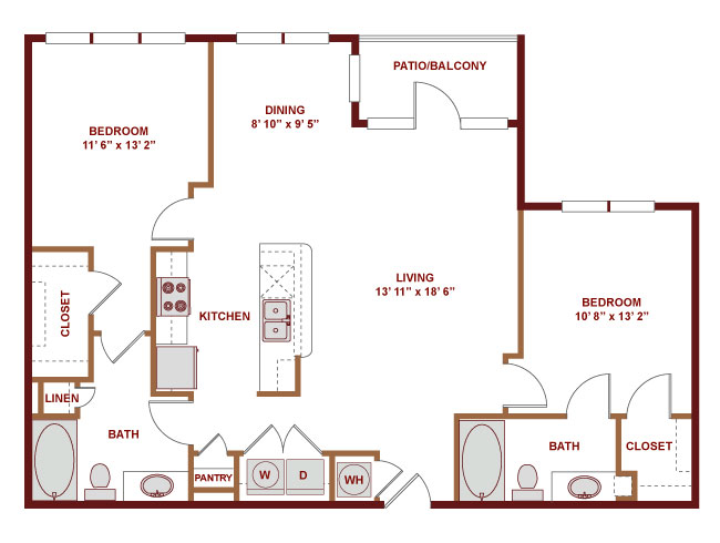 1,130 sq. ft. C500 floor plan