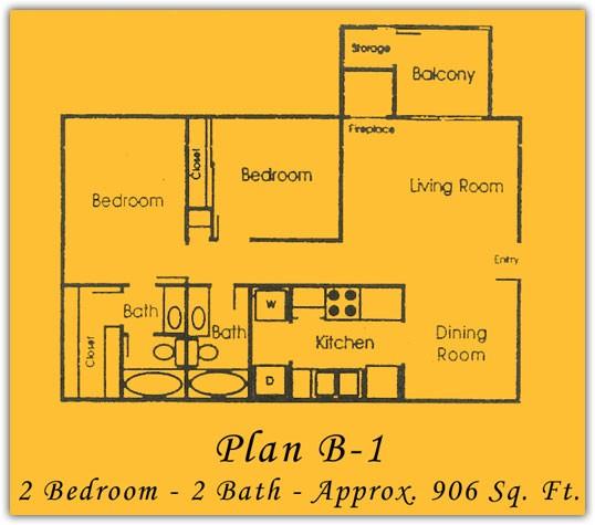 906 sq. ft. floor plan