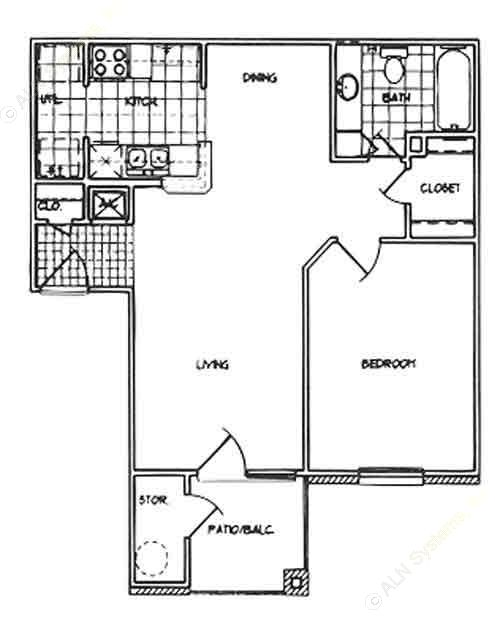 650 sq. ft. A/60% floor plan