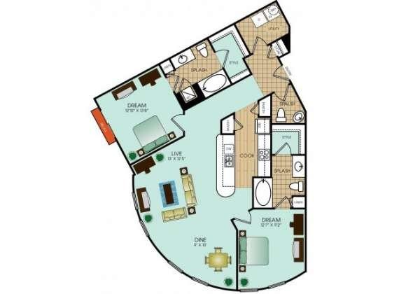 1,301 sq. ft. floor plan