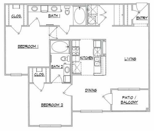 1,100 sq. ft. B3 floor plan