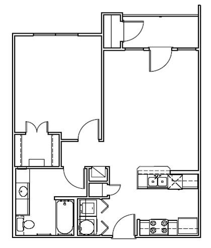 713 sq. ft. Pelican/30% floor plan