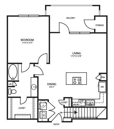 867 sq. ft. A3G2 floor plan