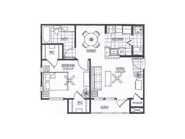 671 sq. ft. A1 floor plan