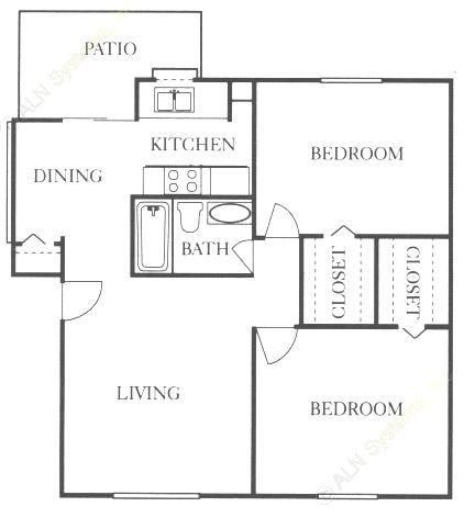 842 sq. ft. B1 floor plan
